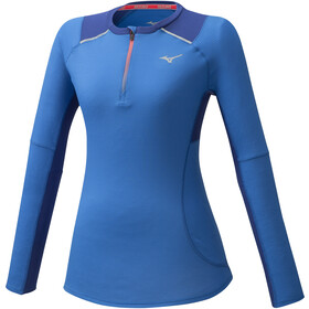 Mizuno Dry Aeroflow Camiseta Manga Larga 1/2 Cremallera Mujer, azul